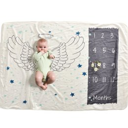 Wholesale 12 Monthly Baby Milestone Blanket Baby Photography Props Blanket Newborn Photo Props Angel Wings Background for Shooting
