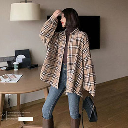 Wholesale fashionable long sleeve tops for sale – plus size Fashionable new style fuzzy plaid shirt printed plaid shirt coat loose ground hair and thick lantern sleeve retro top