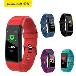 $enCountryForm.capitalKeyWord Australia - ID115 Plus Color Screen Smart Bracelet Fitness Tracker Pedometer Watch Band Heart Rate Blood Pressure Monitor Smart Wristband For Android