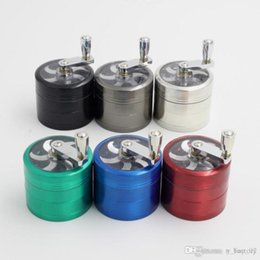 Hand Grinders For Metal Australia - tobacco grinder 56mm 4 layers Zicn alloy hand crank tobacco grinders metal grinders for herbs herbal grinders for tobacco