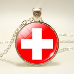 $enCountryForm.capitalKeyWord NZ - Switzerland National Flag World Time Gem Glass Cabochon Sign Symbol Pendants Necklaces For Women Men Handmade Long Link Chain Choker Jewelry