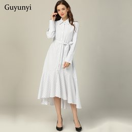 $enCountryForm.capitalKeyWord Australia - Small Stripes Shirt Dress 2019 Autumn Vintage Turn-down Collar Long Sleeve Decorative Belt Loose Hem Elegant Party Dress Women