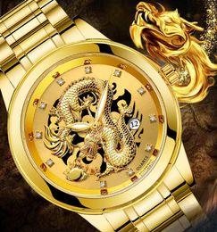 $enCountryForm.capitalKeyWord Australia - Dragon Skeleton Calendar quartz watches For Men Wrist Watch Stainless Steel Strap Gold Clock 50m Waterproof Mens Hodinky Drop Shipping