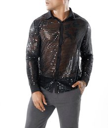 $enCountryForm.capitalKeyWord Australia - Shiny Sequin Transparent Shirt Men 2018 New Sexy See Through Chemise Homme Nightclub Stage Prom Dance Shirt Male Camisa Social