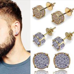 $enCountryForm.capitalKeyWord Australia - Luxury 925 Silver Diamond Iced Out Micro Pave Lab Cubic Zircon Stud Earrings With Screw Back Hip Hop Stud earrings Men Women Jewelry Gift
