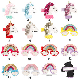 bb cute NZ - CN air Accessories 2'' Glitter Hair Bows For Fashion Korea BB Hair Clips Sweet Unicorn Rainbow Patch Barrettes Cute HairPins