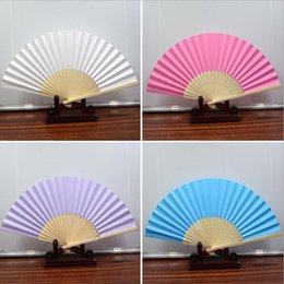 $enCountryForm.capitalKeyWord Australia - Wedding Favors Gifts Elegant Solid Candy Color Paper Bambo Fan Cloth Wedding Hand Folding Fans+DHL Free Shipping