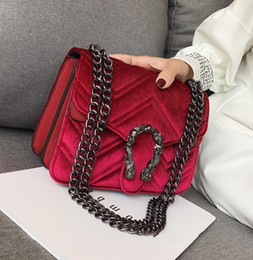 Wholesale chains factory cell phones resale online - Factory direct brand women bag winter new snakehead lock velvet bag classic embroidered line wavy women chain bag elegant temperament small