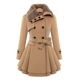 Double breasteD reD trench coat online shopping - Autumn Winter Coat Women Wool Blend Trench Turn down Collar Overcoat Female Red Long Sleeve Peacoat Elegant Coats XL Plus Size