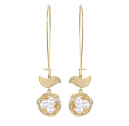 $enCountryForm.capitalKeyWord UK - Chic Brass Bird Nest Jewellery Gold Pearl Ear Rings Earrings for Women 2019 Latest New Design