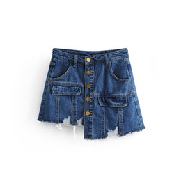 Korean irregular sKirt online shopping - 2019 New Women Ripped Hole Irregular High Waist Shorts Korean Fashion Denim Skirts Shorts Single Breasted Mini Short