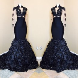 One shOulder evening dress print online shopping - Real Pictures Plus Size Prom Dresses Black Mermaid Lace Plunging V Neck Long Sleeve Evening Gowns With D Leaves Party Dress Guest Dress