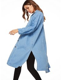xl girls clothes 2019 - 2019 new design women's fashion light blue denim coats girls dark sleeve outerwear clothing collar slim cool soft v