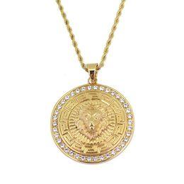 $enCountryForm.capitalKeyWord UK - hip hop Lion head diamonds round pendant necklaces for men western hot sale golden luxury necklace Stainless steel Cuban chains jewelry