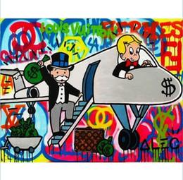 $enCountryForm.capitalKeyWord Australia - High Quality Handpainted & HD Print Graffiti Pop Wall Art Home Decor Oil Painting color Airplane On Canvas Multi Sizes Frame Options g124