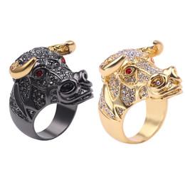 $enCountryForm.capitalKeyWord Australia - Luxury Rhinestone Punk OX Head Crystal Gold & Black Ring Street Style Hip-hop Roll Jewelry For Man Charm Gift Glisten Ring