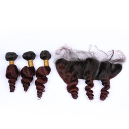 length 28 inch brazilian hair UK - Brazilian Loose Wave Human Hair With Frontals 4Pcs Lot Virgin Brazilian 3Bundles Hair Weaves With 13x4 Lace Frontal Closure Loose Wave Wavy