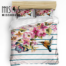 Discount bird comforter sets - MISSHOUSE Bedding Sets Butterfly Bird Peach Blossom Home Textile 3pcs Duvet Cover Set Comforter Cover Pillowcases