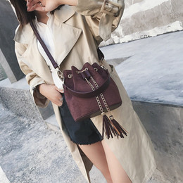 purse tassel strings 2019 - Crossbody Bags For Women 2019 Hot Selling Tassel Bucket Bags For Girl Casual Totes Female Purse And Handbag 4colors Shou