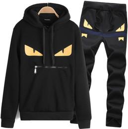7915156e192 бренд Дьявол глаза мужская спортивная одежда шить спортивная одежда  толстовки + брюки костюм Мужские толстовки и толстовки куртка костюм  бесплатная доставка