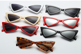 Discount sexy sunglasses wholesale - Factory Price Sexy Cat Eye Sunglasses Triangle Leopard Frame Various Colors Optional Plastic Glasses women sunglass for