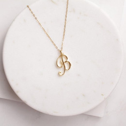 Small Swirl Initial Alphabet Letter Necklace All 26 English Silver A-T Cursive Luxury Monogram Name Letter Word Chain Necklaces for Lovers on Sale