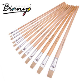 Flat Wood NZ - Bianyo 12pcs Flat Head Bristle Hair Wood Handle Acrylic Paint Brush Oil Brushes Set For Artist Drawing Painting C19041701