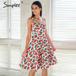 35c8584e569 Simplee Print Strap Midi Summer Dress Women Causal Sash Princess Dress  Spring Party Wear Cut Dress Girl Vestidos 2018 Robe Femme Y190415