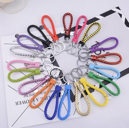car color mixing NZ - Hot Selling Color Rope Keychain Fashion Accessories Leather Car Key Chain Creative Gifts Double Ring Key Buckle 20 Color Mix Order