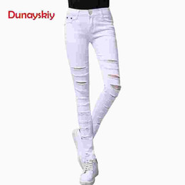 white cotton stretch pants Canada - 2019 New Spring Jeans Women Tight Skinny Jeans Woman Stretch Push Up Jean Female Trendy Trousers Korean Pants Black White XS
