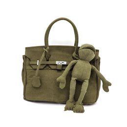 Platinum Ladies Handbags Australia - Canvas Military Navy Green Lock Platinum Tote bag Portable Graffiti Diy Messenger Bag Frog Lady Handbag Female Tote Shoulder Bag