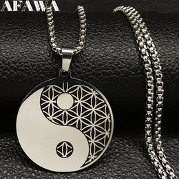 flower life silver Australia - 2020 Flower of Life YinYang Stainless Steel Necklace for Women Black Silver Color Witchcraft Necklaces Jewellery collier N186724