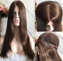long straight dark brown wigs Australia - Kosher Wigs 10A Grade Light Brown Color #6 Finest Brazilian Virgin Remy Human Hair Straight 4x4 Silk Base Jewish Wig Fast Free Shipping