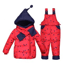 BaBy warmer suit online shopping - Baby Clothes Winter Thicken Warm Down Jacket Suit Children Snowsuit Boys And Girls Down Coat Suit With Cartoon Hat Warm Coat