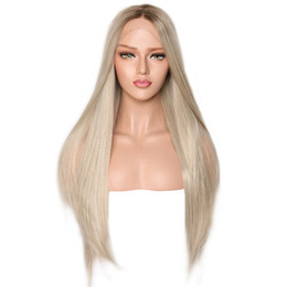 synthetic fiber lace wigs UK - Dark Brown Roots Ombre Platinum Straight Synthetic Lace Front Wig Heat Resistant Fiber Hair Middle Parting For Women