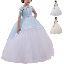 Wholesale Flower Girl Dress Lace Overlay Kids Princess Ball Gowns Lace Applique Short Sleeve Little Girl Bridesmaid Dress For Wedding Formal Occasion