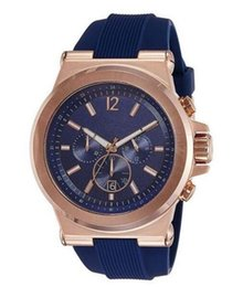 pvd wrist watches Australia - 2019 New 48mm Dylan Chronograph Navy Dial Mens Watch 8295 PVD Rose Plated Wristwatch Quartz Wrist watch Christmas Gift