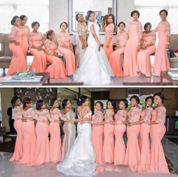 nigerian coral beads 2019 - Nigerian African Bridesmaid Dresses Half Long Sleeves Lace Plus Size Special Occasion Evening Gowns Cheap Brautjungfernk