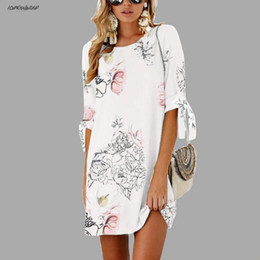 floral dresses half sleeve NZ - Floral Female Polyester Printed Mini Dress Plus Size Casual Sundress Boho Sleeve Summer Half Women O-Neck Boho Size S-5Xl Designer Clothes