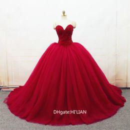 $enCountryForm.capitalKeyWord Australia - Luxury Beading Pearls Red Ball Gown Wedding Dresses Vestido de Novia Sweetheart Court Train Tulle Bridal Gowns Formal Occasion