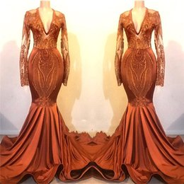 See through faShion online shopping - Fashion Orange Prom Dresses New Mermaid Long Sleeves Vintage Applique Sequin Long Evening Gowns Formal See Through BC1115