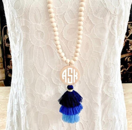 navy pendants NZ - Bohemian Wood Bead & Tassel Necklace, Navy Blue Monogram Boho Tribal Jewelry, Bridesmaid Friend Birthday Personalized Gift for Her