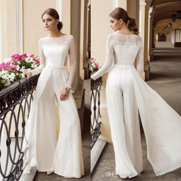 jumpsuit floor length dresses Australia - Designer Bohemian Jumpsuit Lace Sheath Wedding Dresses Bateau Neck Long Sleeves Beach Bridal Gowns Floor Length Chiffon vestido de novia