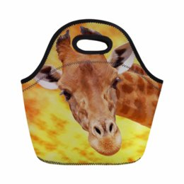 Chinese  2019 New Funny Animal Giraffe Print Neoprene Lunch Bag for Kids Small Lancheira Thermo Thermal Lunchbag Picnic Bas manufacturers