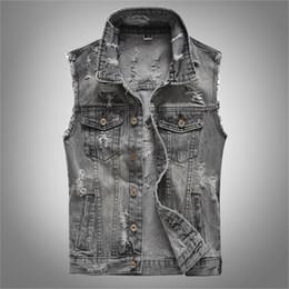 $enCountryForm.capitalKeyWord Australia - KIMSERE Men Hi Street Ripped Jeans Vests With Holes Streetwear Distressed Denim Waistcoat Sleeveless Jacket Plus Size M-5XL