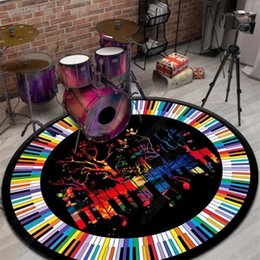 modern key NZ - Modern Area Rugs Round Carpet Cool Colorful Music Piano Keys Alfombra Carpet For Living Room Home Decor Kids Room