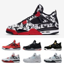 4498f38c13b 2019 AIR Tattoo 4s 4 Basketball Shoes Men Pure Money Royalty White Cement  Raptors Black cat Bred Fire Red mens trainers Sports Sneakers