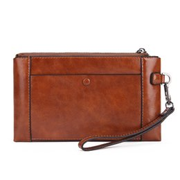 leather cell phone cases UK - New men XL Wallet zipper travel case Black Purse Man Leather Clutch Wallets M81506 Brown Passport bag Holder clutch 0325