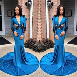 CoCktail dress pink silver online shopping - Blue Deep V Neck Prom Dresses South African Sexy Mermaid Evening Gowns Lace Appliques Long Sleeves Sweep Train Cocktail Party Dress