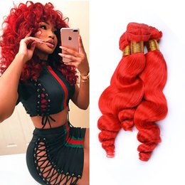$enCountryForm.capitalKeyWord Australia - Double wefted Bright Red Deep Curly Human Hair Bundles Colored Red Hair Weaves Deep Wave Hair Extensions 10-30 inch